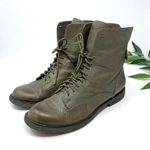 Lucky Brand Olive Green Combat Moto Calf Boot 7